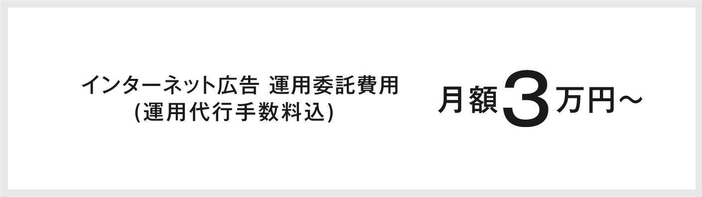 インターネット広告 運用委託費用(運用代行手数料込)月額3万円〜